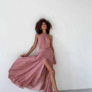 замовити літній вечірнє плаття з відкритими плечима ніжно рожевого кольору недорого