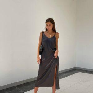 заказать платье из коллекции лето 2021 на бретелях чёрного цвета онлайн