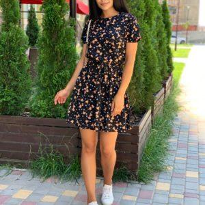 заказать летнее платье из штапеля черное с принтом цветы по скидочной цене с доставкой