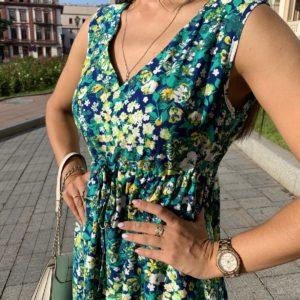 летнее платье женское с V вырезом в бутылочном цвете по выгодной скидке от поставщика