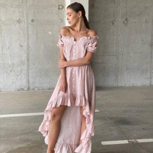 купить ассиметричное платье с открытыми плечами по низкой цене с быстрой доставкой