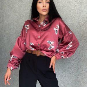 Замовити недорого бордову блузку з принтом метелики (розмір 42-48) для жінок
