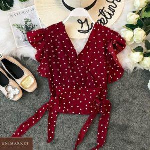 Купить выгодно бордовую легкую блузу в горошек для женщин