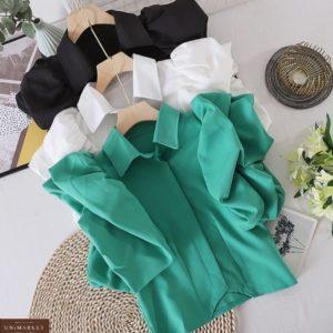 Замовити онлайн білу, зелену, чорну повітряну блузу з об'ємними рукавами для жінок