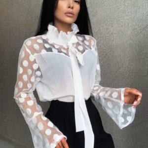 Заказать белую женскую блузку с рукавами-колокольчиками (размер 42-48) в интернете