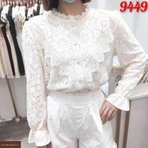 Заказать по скидке белую блузку из гипюра с длинным рукавом для женщин