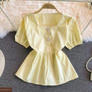 Замовити вигідно лимонну блузку з рукавами-ліхтариками для жінок