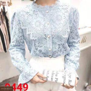 Приобрести голубую женскую блузку из гипюра с длинным рукавом дешево