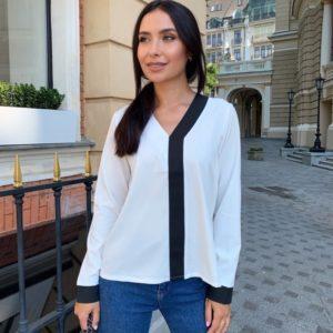 Замовити в інтернеті білу блузку з контрастною смужкою (розмір 42-56) жіночу