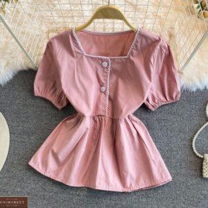 Придбати жіночу блузку з рукавами-ліхтариками кольору пудра онлайн