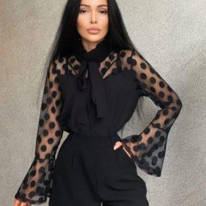 Купить по скидке блузку с рукавами-колокольчиками (размер 42-48) черную для женщин