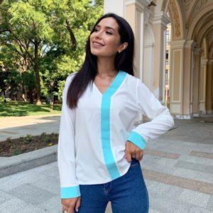 Придбати недорого білу блузку з контрастною смужкою (розмір 42-56) для жінок