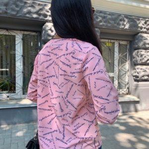 Заказать в интернете розовую блузку с надписями (размер 42-56) для женщин
