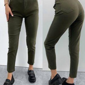 Купить недорого стрейчевые брюки с поясом для женщин хаки
