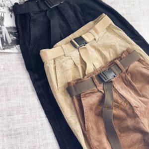 Купить черные женские брюки джоггеры из микровельвета в Украине