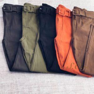 Купить дешево женские стрейчевые брюки с поясом коралловые, зеленые, черные