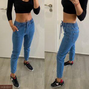 Купить синие женские зауженные джинсы на резинке по скидке