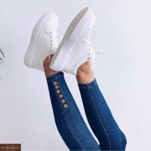 Купить недорого женские джинсы скинни с пуговицами (размер 42-48) синего цвета
