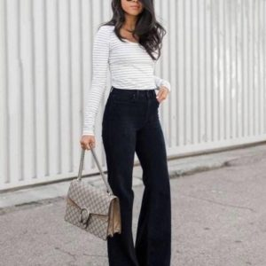Купить по скидке черные расклешенные джинсы скинни для женщин