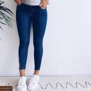 Заказать онлайн синие джинсы скинни с пуговицами (размер 42-48) для женщин