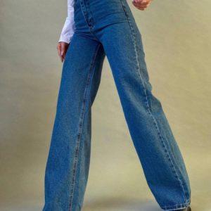 Заказать синие женские джинсы «палаццо» в Украине
