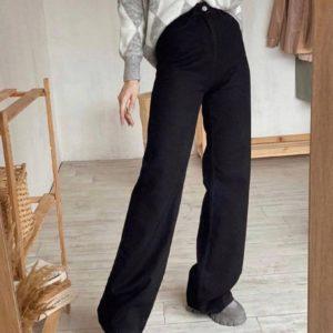 Купить джинсы «палаццо» черные онлайн для женщин