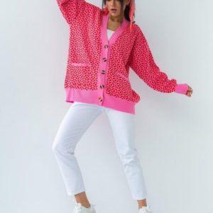 Купить дешево розовый кардиган с геометрическим принтом для женщин