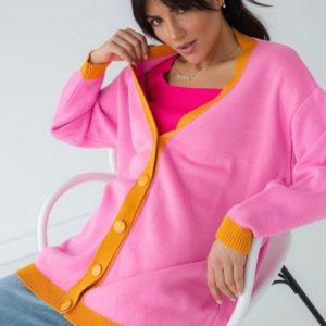 Купить женский розовый кардиган удлиненного фасона по скидке
