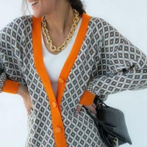 Заказать серый, оранжевый кардиган с геометрическим принтом для женщин онлайн