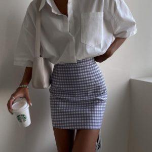Замовити онлайн жіночий костюм: сорочка + спідниця біло-блакитний