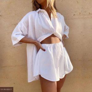 Купити білий жіночий костюм з льону з рукавом 3/4 в інтернеті
