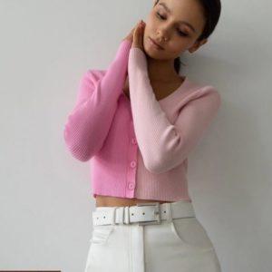 Купить розовую женскую двухцветную кофту-топ по скидке