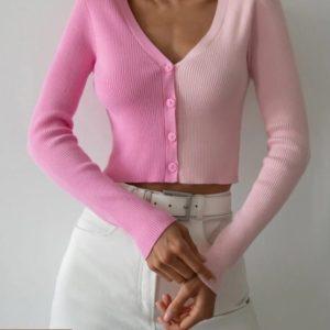 Заказать розовую женскую двухцветную кофту-топ недорого