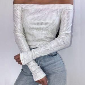 Заказать недорого молочного цвета кофту с люрексом и открытыми плечами для женщин