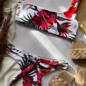 Купить белый женский купальник с принтом на одно плечо онлайн