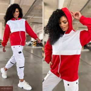 Заказать по скидке красно-белую куртку плащёвку на змейке (размер 42-48) для женщин
