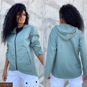 Купить оливковую куртку женскую плащёвку с капюшоном (размер 42-48) недорого
