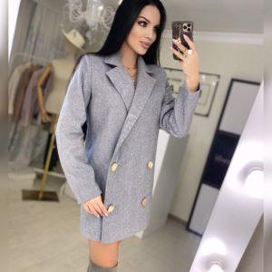 Купить онлайн двубортное пальто из шерсти серое для женщин