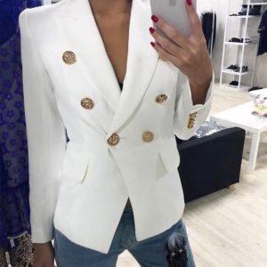 Купить женский белый пиджак с золотой фурнитурой дешево
