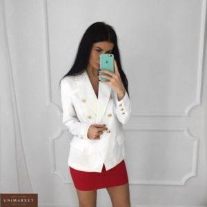 Купить в интернете белый пиджак с золотой фурнитурой для женщин