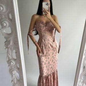Купить цвета пудра женское открытое платье из принтованного шёлка в Украине