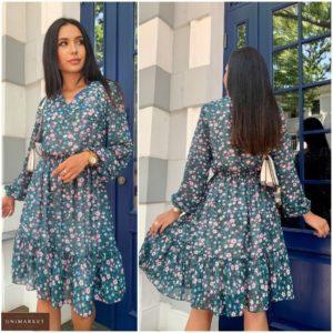 Замовити онлайн зелене літнє плаття в квіточку з шифону (розмір 42-52) для жінок