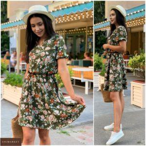Купити жіночу недорого плаття з коротким рукавом в квіточку (розмір 42-52) кольору хакі