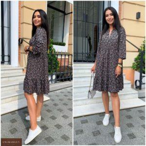 Замовити по знижці чорне вільне плаття в дрібний принт (розмір 42-52) для жінок
