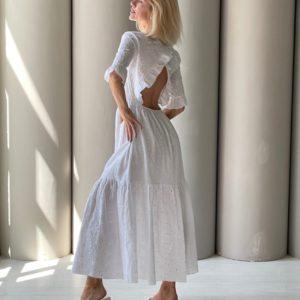 Заказать онлайн белое хлопковое платье макси с открытой спиной (размер 42-48) для женщин