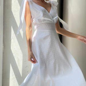 Заказать выгодно белое платье миди с завязками (размер 42-52) для женщин