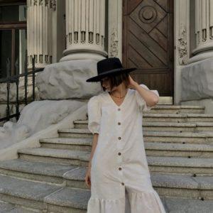 Заказать по скидке женское легкое платье из прошвы (размер 42-48) белое