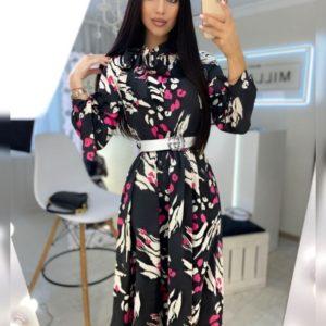 Купити чорне жіноче шовкове плаття з бантами в інтернеті
