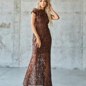 Купить по скидке коричневое кружевное платье в пол (размер 42-48) для женщин