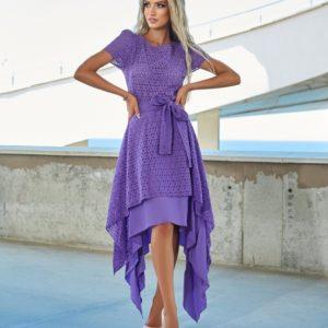 Заказать сиреневое женское асимметричное платье из прошвы (размер 42-54) в Украине